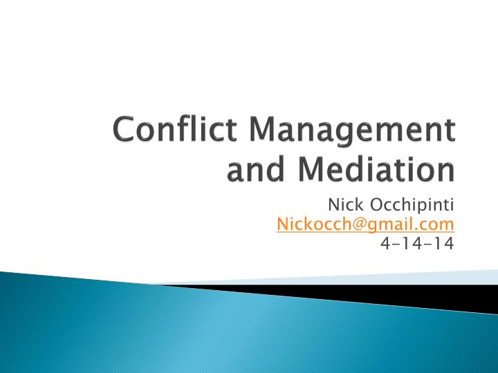 conflict management and mediation n.