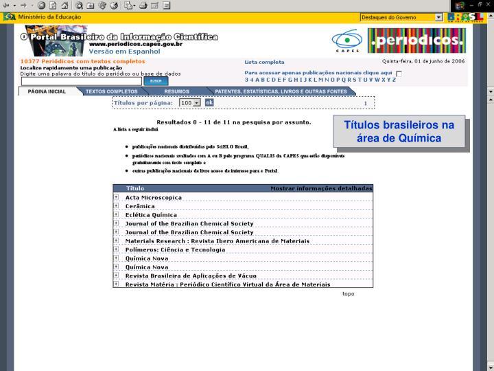 Títulos brasileiros na área de Química
