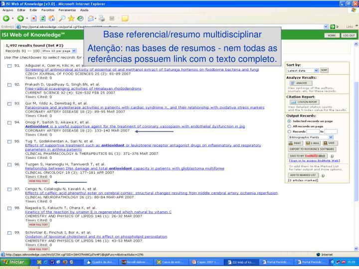 Base referencial/resumo multidisciplinar