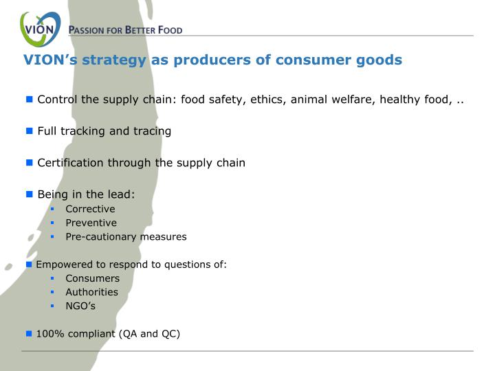 VION's strategy as producers of consumer goods