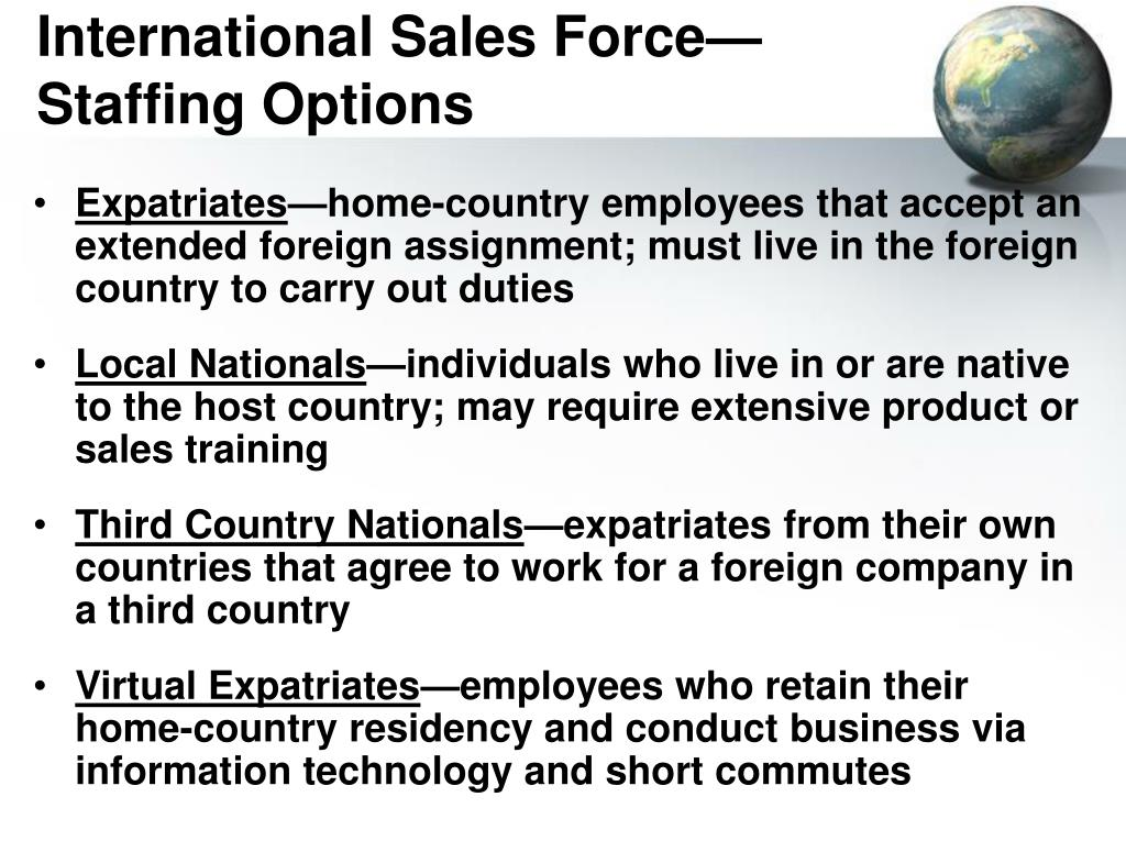 PPT - International Sales Force—Staffing Options PowerPoint