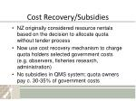 cost recovery subsidies