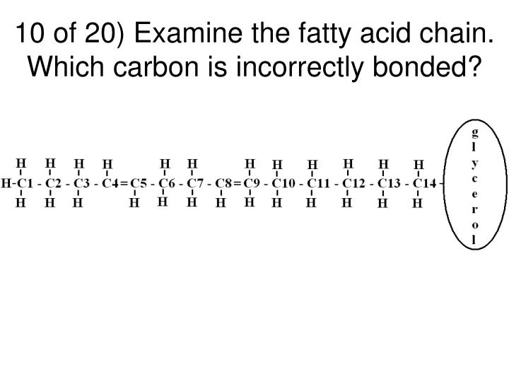 10 of 20) Examine the fatty acid chain. Which carbon is incorrectly bonded?