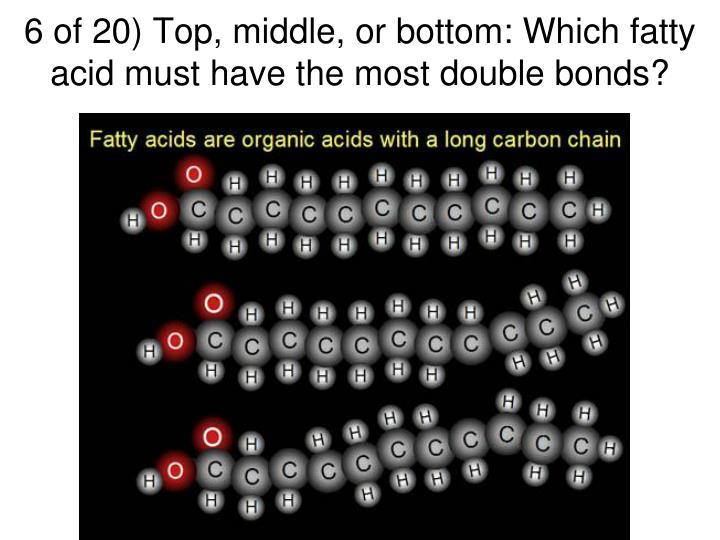 6 of 20) Top, middle, or bottom: Which fatty acid must have the most double bonds?