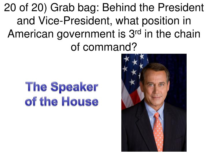 20 of 20) Grab bag: Behind the President and Vice-President, what position in American government is 3