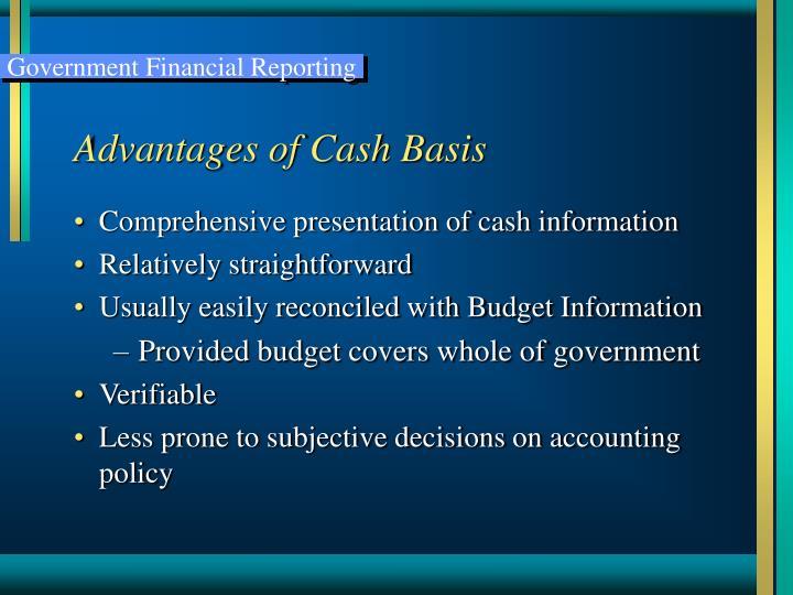 Advantages of Cash Basis