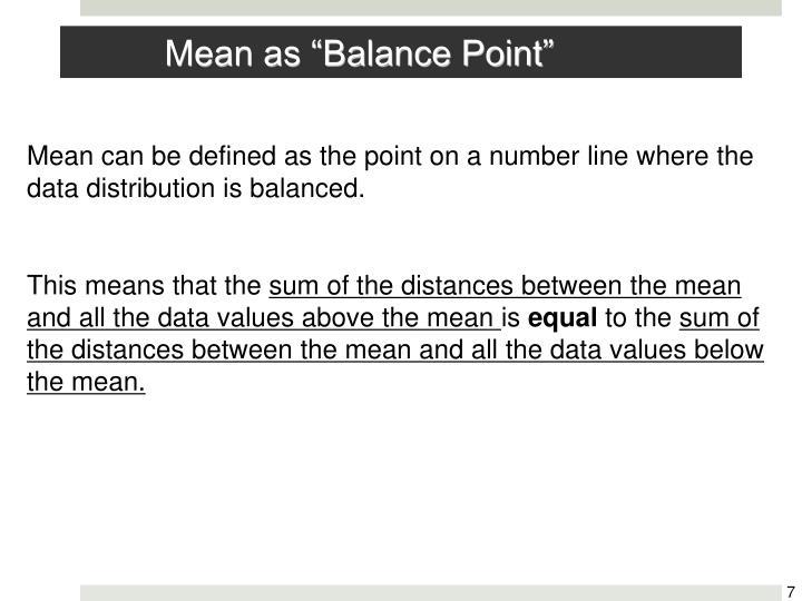 "Mean as ""Balance Point"""