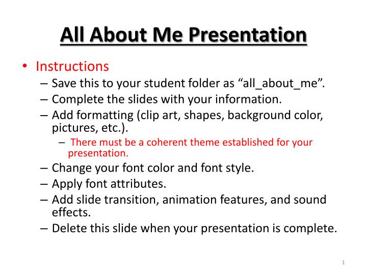 all about me presentation n.