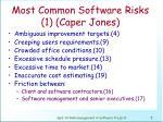 most common software risks 1 caper jones