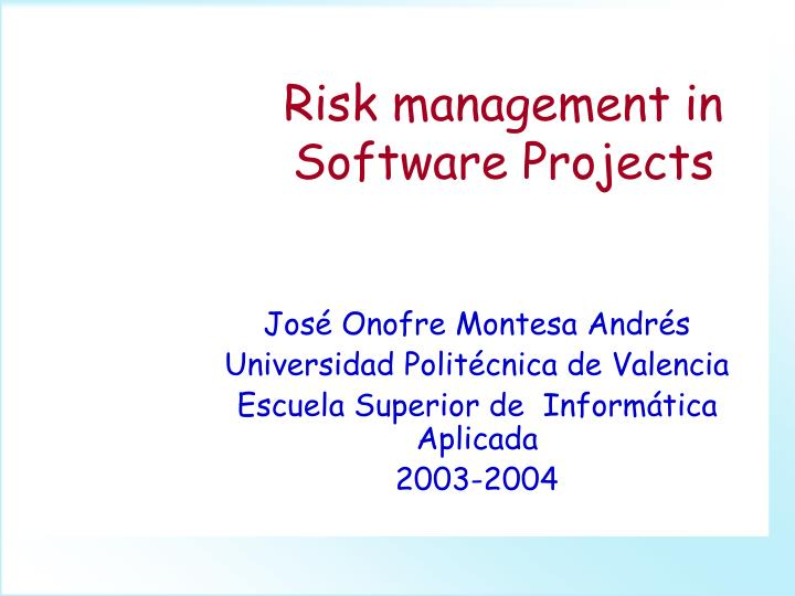risk management in software projects n.
