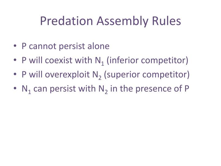 Predation Assembly Rules
