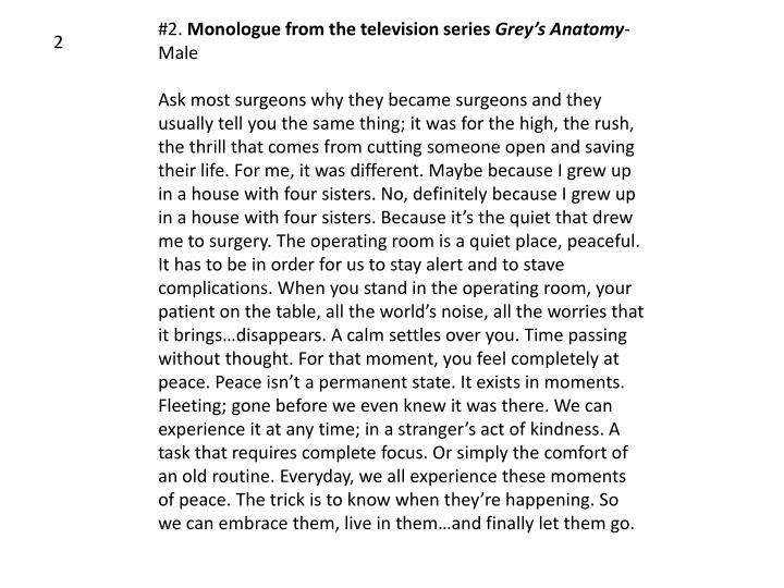 Ppt 2 Monologue From The Television Series Greys Anatomy Male