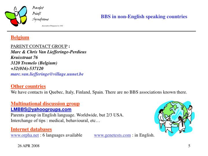 BBS in non-English speaking countries