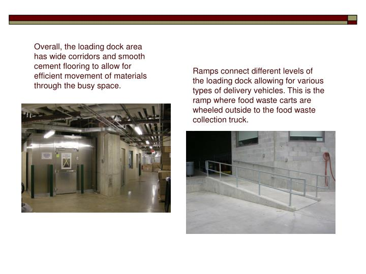 Overall, the loading dock area has wide corridors and smooth cement flooring to allow for efficient movement of materials through the busy space.