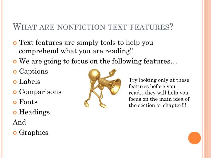 What are nonfiction text features?