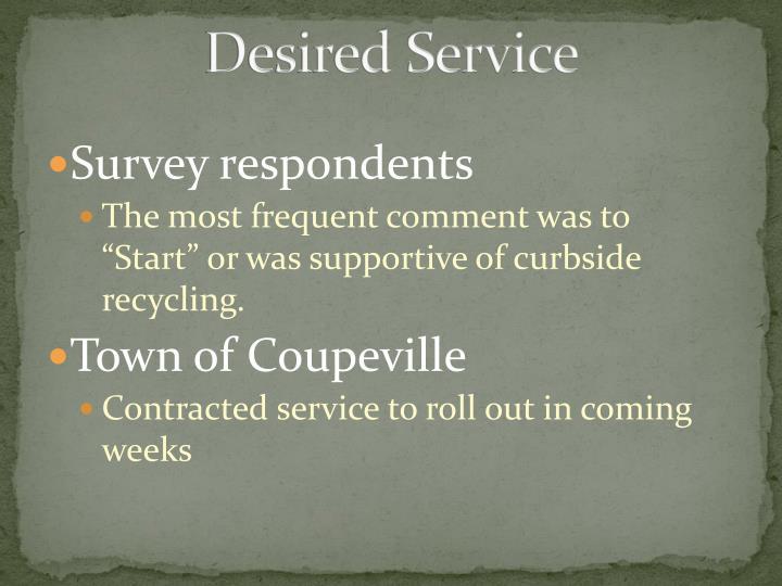 Desired Service
