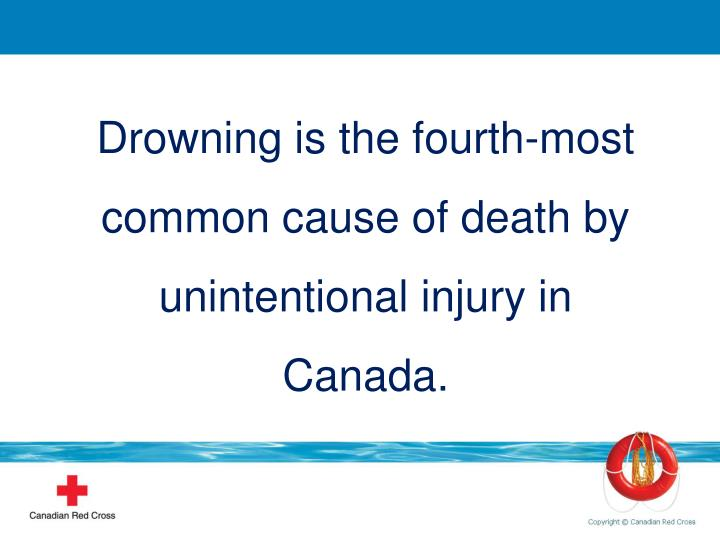 Drowning is the fourth-most common cause of death by unintentional injury in Canada.