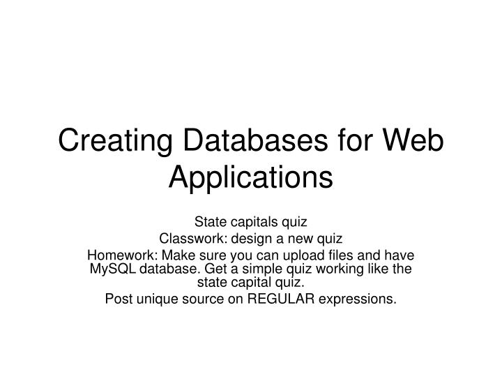 creating databases for web applications n.