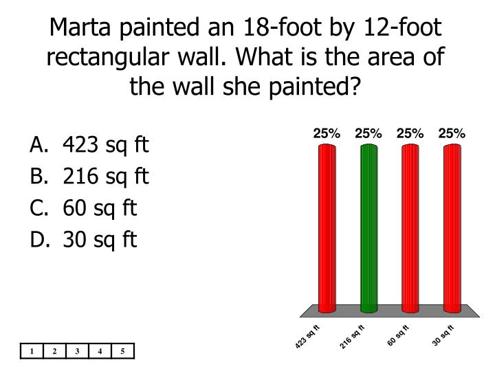 Marta painted an 18-foot by 12-foot