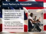 basic factors to remember