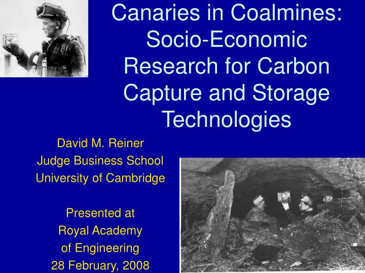 canaries in coalmines socio economic research for carbon capture and storage technologies n.