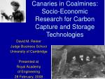 canaries in coalmines socio economic research for carbon capture and storage technologies