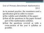 end of primary benchmark mathematics 20121