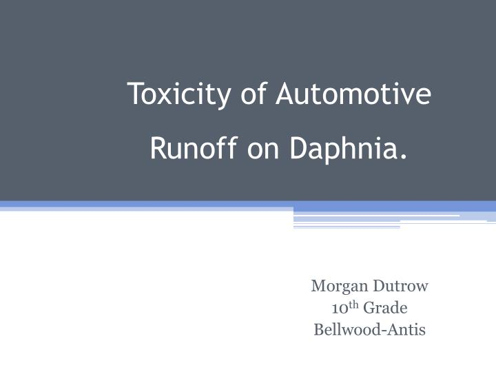 Toxicity of automotive runoff on daphnia