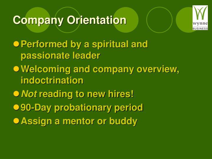 Company Orientation