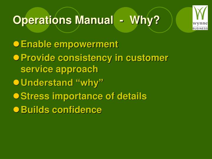 Operations Manual  -  Why?
