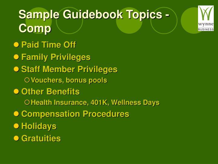 Sample Guidebook Topics - Comp