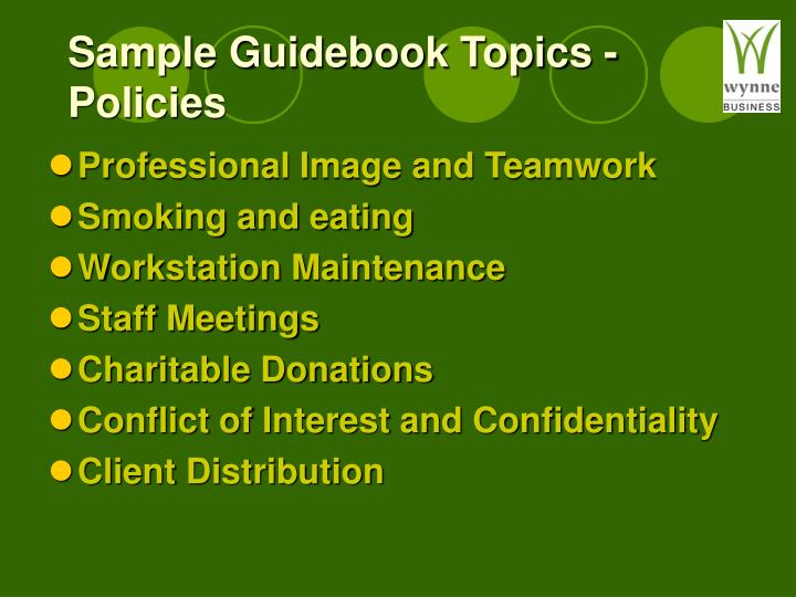 Sample Guidebook Topics - Policies