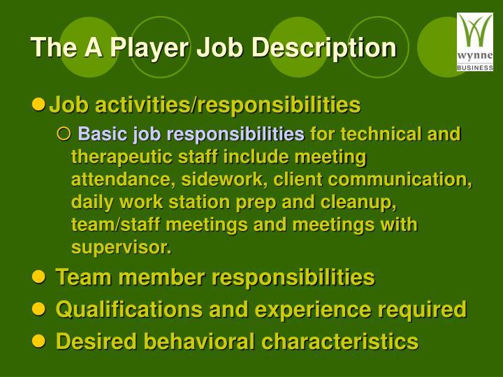 The A Player Job Description