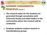 agshare fundamental principles cont