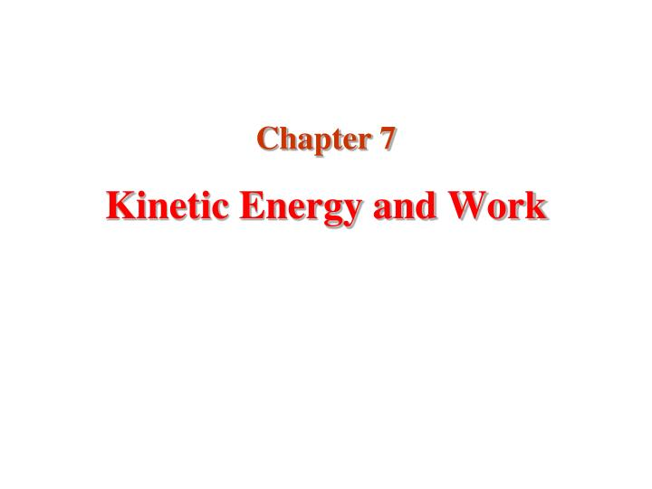 kinetic energy and work n.