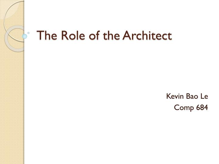 the role of the architect n.