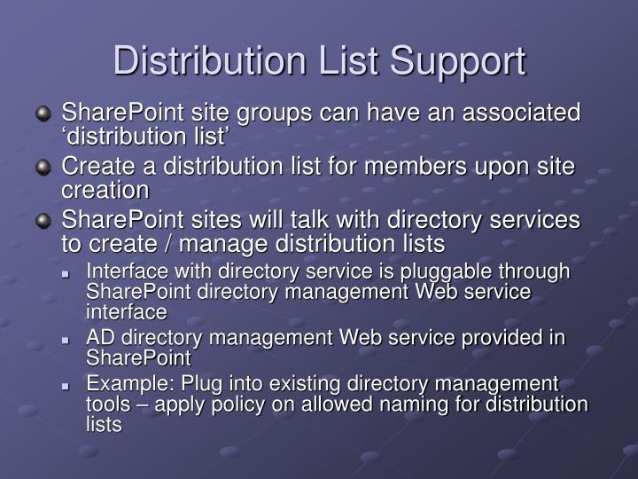 Distribution List Support