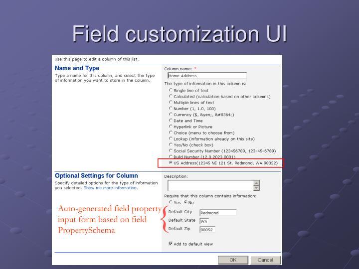 Field customization UI
