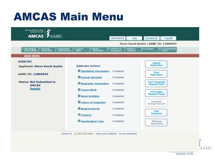 amcas main menu
