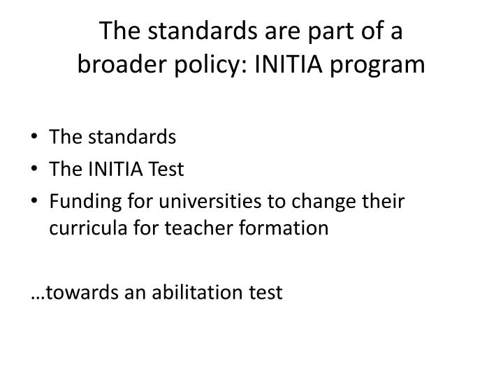 The standards are part of a
