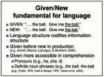 given new fundamental for language
