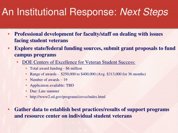 An Institutional Response: