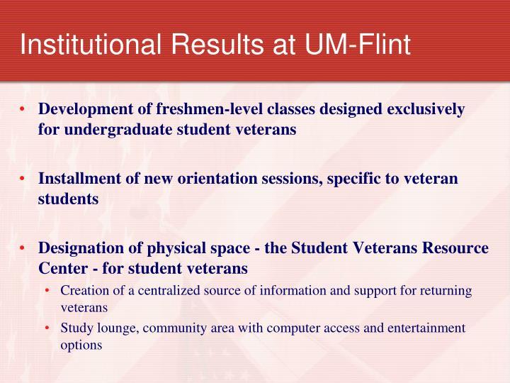 Institutional Results at UM-Flint