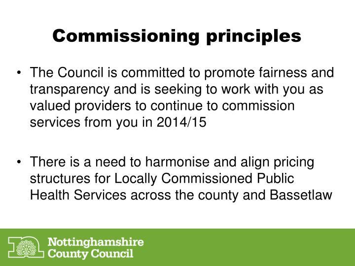Commissioning principles
