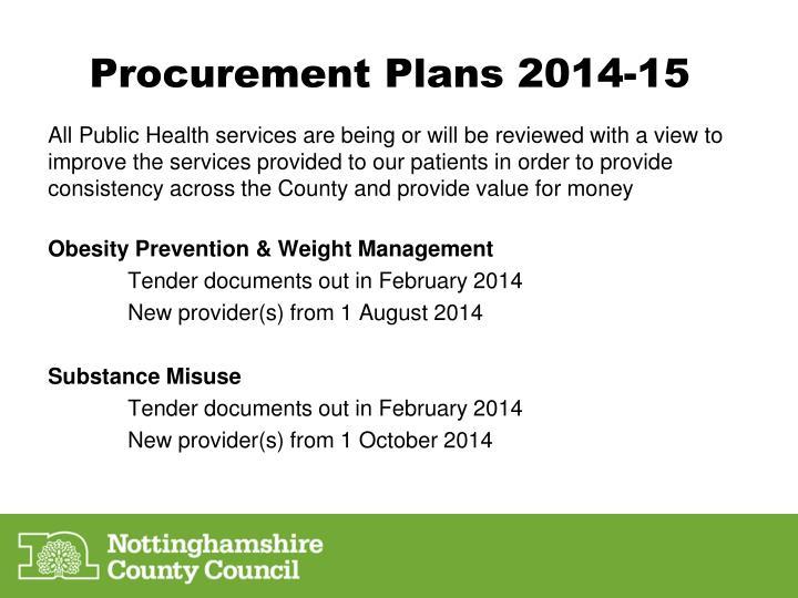 Procurement Plans 2014-15