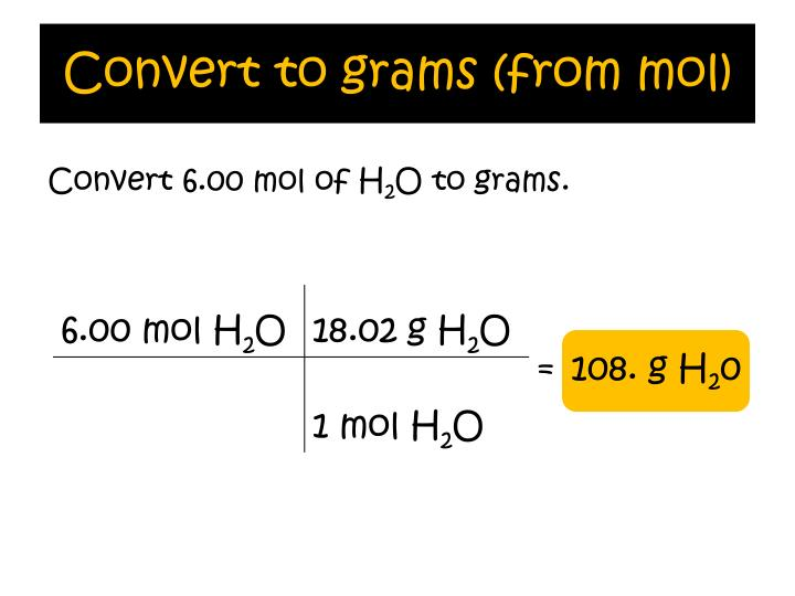Convert to grams (from mol)