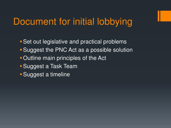Document for initial lobbying
