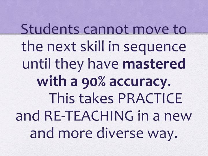 Students cannot move to the next skill in sequence until they have