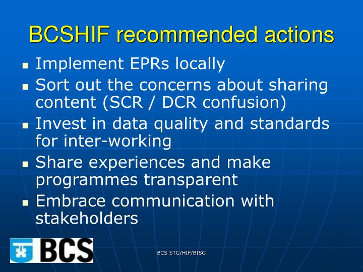 BCSHIF recommended actions