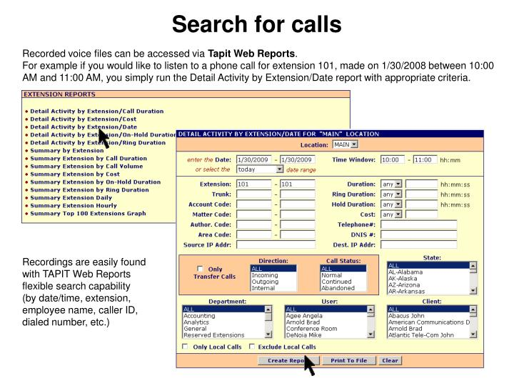Search for calls